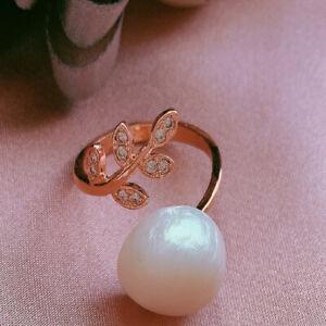 12-13MM White Baroque Pearl Open Adjustable Ring 18KGP Aurora 、 Elegant