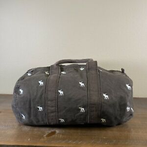 ABERCROMBIE & FITCH Brown Duffle Bag Brown w/ White Moose Stitching