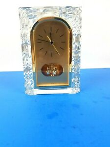 Seiko Quartz Clear Glass Gold Mantel Shelf Clock Ref QQZ1275