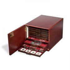 Münzbox-Kabinett für 10 Standard-Münzboxen, Mahagoni-farben (seidenmatt) mit Hol