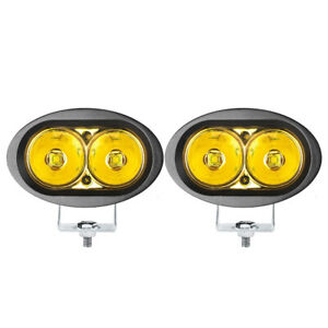 2X 20W LED Work Light Pods Yellow Amber Driving Fog Motorcycle SUV Off Road ATV