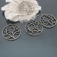 10X Antique Style Bronze Alloy Circle Tree Pendant Charms 37*37mm