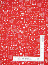 Valentine's Day Love Hearts Arrows Red Cotton Fabric Traditions By The Yard