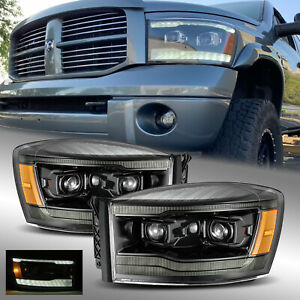 Fit 06-09 Dodge Ram LED DRL Signal Projector Headlights Polished Black