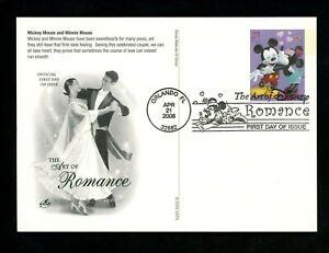 US FDC #UX450-UX453 Artcraft 2006 Orlando FL Disney Romance Cards Set of 4