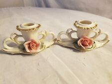 Unknown Trademark Stamp Pair Of Antique Candle Holders With Rose On Front