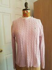 Ralph Lauren Ladies Black Label Slim Fit Cotton CabIeknit Sweater Rose Pink