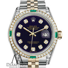 Women's Rolex SS & 18k 31mm Datejust Watch Purple Diamond Dial with Emerald