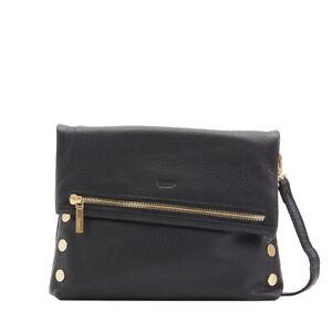 Hammitt VIP Medium Black GOLD Clutch Strap Leather Bag Handbag Lifetime NEW