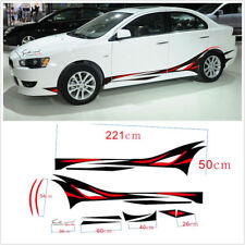 2x Car Waist Line Sports Racing Sticker Red & Black Flame Stripe Decal Stickers