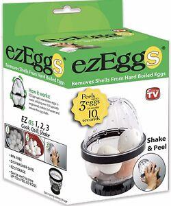 ezEggs - Hard Boiled Egg Peeler 3 Egg Peeler - As Seen On TV - New 2020! EZ EGGS