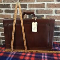 RARE VINTAGE 1980s POLISHED BROWN HARDSIDE LEATHER MACBOOK BRIEFCASE BAG $598
