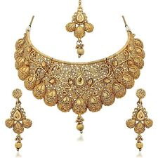 Indian Fashion Jewelry Bollywood Wedding Gold Plated Necklace Set Earrings 4 Pcs