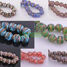 5pcs 14mm/16mm Round Striped Lampwork Glass Loose Spacer Beads Jewerly Making