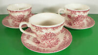 Churchill THE BROOK Pink Cup and Saucer Set (s) LOT OF 3 Cottage House Fleabites