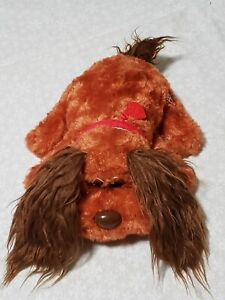 """Pound Puppy Plush 12"""" red & Brown Dog With Long Ears & Red Collar vintage"""