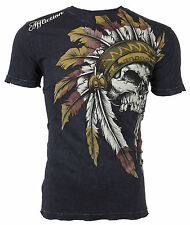 Affliction Mens S/S T-Shirt WINDTALKER Indian BLACK Motorcycle Biker S-3XL $50