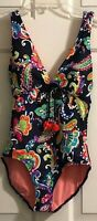 Anne Cole Size 6 Navy Paisley Pom Plunge Printed One Piece Swimsuit NWT $98
