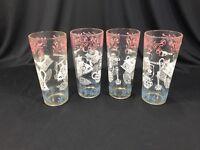 "(4) Vintage Mid Century Modern Drinking Glasses MCM Red White Blue 6.5"""