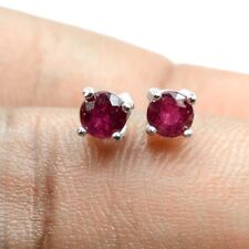 4mm Natural Round Cut Pink Ruby Gem 925 Solid Silver Comfortable Stud Earring