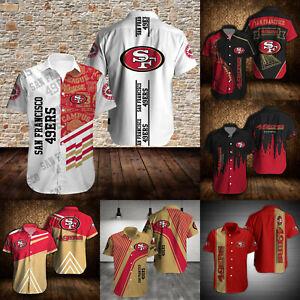 San Francisco 49ers Men Football Shirts Summer Casual Button Down Blouses Tops