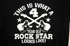 THIS IS WHAT A 4 YEAR OLD ROCK STAR LOOKS LIKE 2 GUITARS YOUTH S BLACK T SHIRT