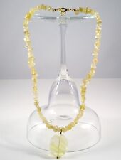 Necklace Quartz Yellow/Glass Yellow 18 in Collar Gold Plated Handmade GB USA New