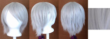 11'' Short Straight Layered Silver Gray Synthetic Cosplay Wig NEW