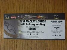 23/02/2005 Ticket: Derby County v Burnley [Dave Mackay Lounge With Balcony] (com