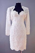 wedding short dress lace beaded white formal size S sleeveless and jacket
