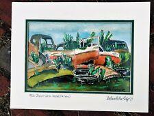 1956 Chevy Junkyard Scene Art Print Barn find 55 56 chevrolet restore junk 283
