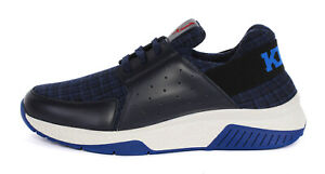 KITON KNT SNEAKERS SHOES +1 special wool leather blue Italy uk 7 us 8