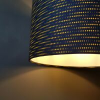 Navy Blue and Mustard Lampshade Phases of the Moon White Lining Patterned