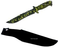 "Skull Design Tactical Green Camo Hunting Knife Large 13"" with Sheath NEW"