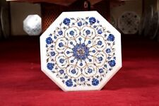 "12"" White Marble Side Coffee Table Top Marquetry Inlay Mosaic Home Decor"