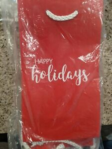 Happy Holidays red bag with white rope  25 count