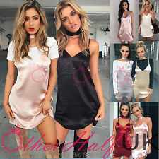 UK Womens Slip Dress Silky Satin Strappy Ladies Mini Party Summer Size 6-14