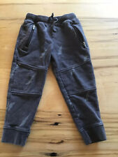 Hanna Andersson Boys Slim Zipper Double Knee Sweatpants Joggers 100 4 Dark Gray
