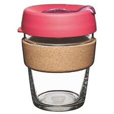 KeepCup Brew Reusuable Glass Coffee Cup Mug with Cork Ribbon 340ml 12oz,Flutter