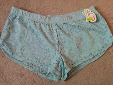 NWT Jasmine & Ginger Women's Lace Overlay Boxer Sleep Shorts, baby blue, size XL