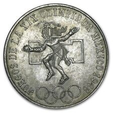 1968 EF+ Mexican Olympic Commemorative 72% Silver 25 Pesos Round Bullion Coin