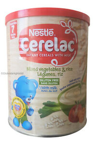 Nestle Cerelac Mixed Vegetables & Rice Gluten Free with Milk From 7 Months