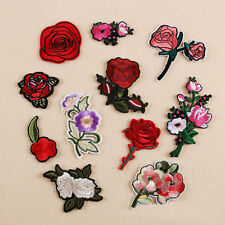 11Pcs Embroidered Sew Iron on Patch Badge Rose Flower Hat Dress Applique DIY New