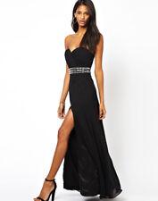 Lipsy Black Maxi Dress 10 Embelished Waist Split Long Party Evening Wedding Xmas