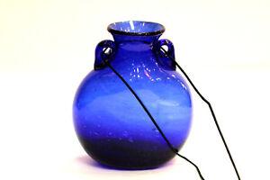 Art Glass Vase Beautiful Blown Handmade Blue Green Brown Window Hanging Gift