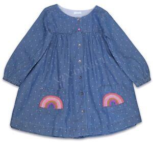 Next Girls Long Sleeve Blue Denim Rainbow Pocket Dress NEW