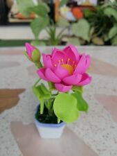 Miniaturized Resin  Lotus Flower Pot Pink Green Color Souvenir Gift Handcraft