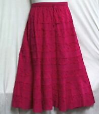 Women Clothing Elastic Waist long Embroidery Skirt 100% Cotton Free Size Fuchsia