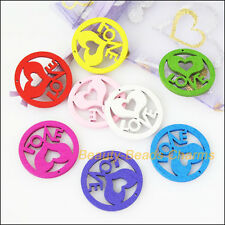 30Pcs Mixed Craft Wooden Round Heart Love Charms Pendants 24mm