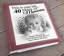 "40th Birthday memory present, Large personalised photo album 6x4"" x 200 photos."